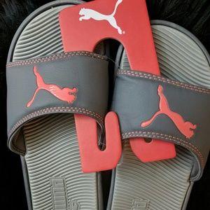 Women's New Puma Slide Sandals Gray Red size 9